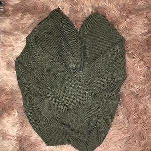 Sweaters - Green open back sweater